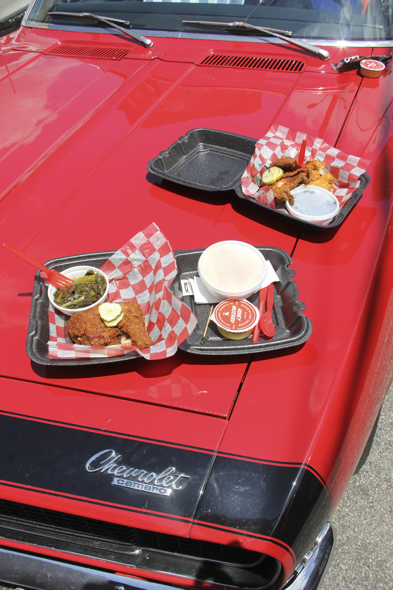 food on a camaro hood