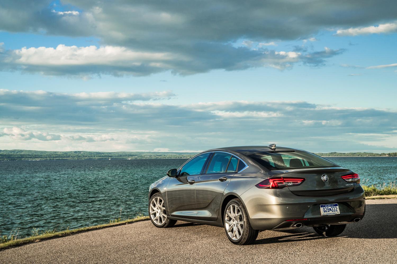 2019 Buick Regal Avenir rear tail overlooking lake