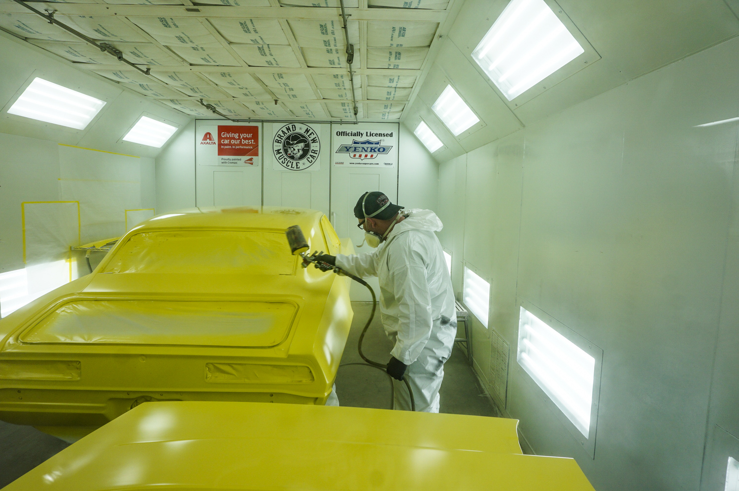 officially licensed 1969 Yenko continuation Camaro in the paint booth new muscle car