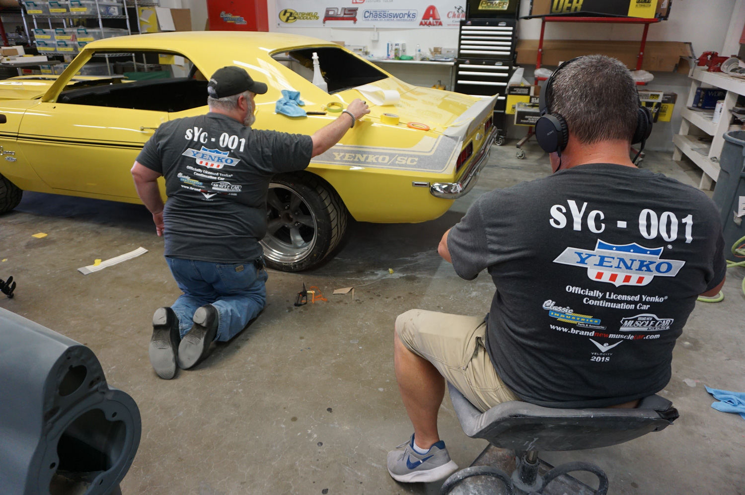 Applying the official Yenko stripes; the build was filmed for the Velocity Channel.