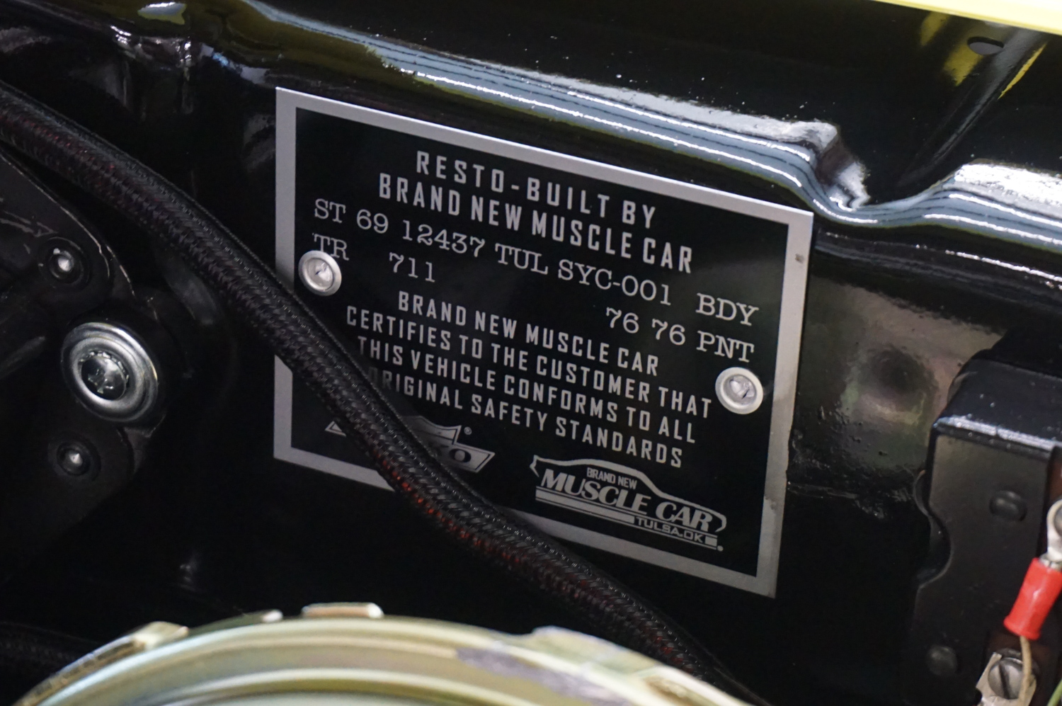 Cowl plate verifies the car's identity. Registration requirements vary by state.