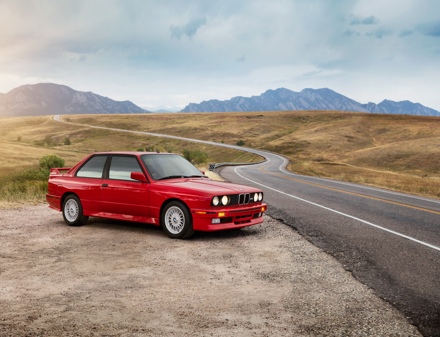 1988 BMW M3 red side of road desert