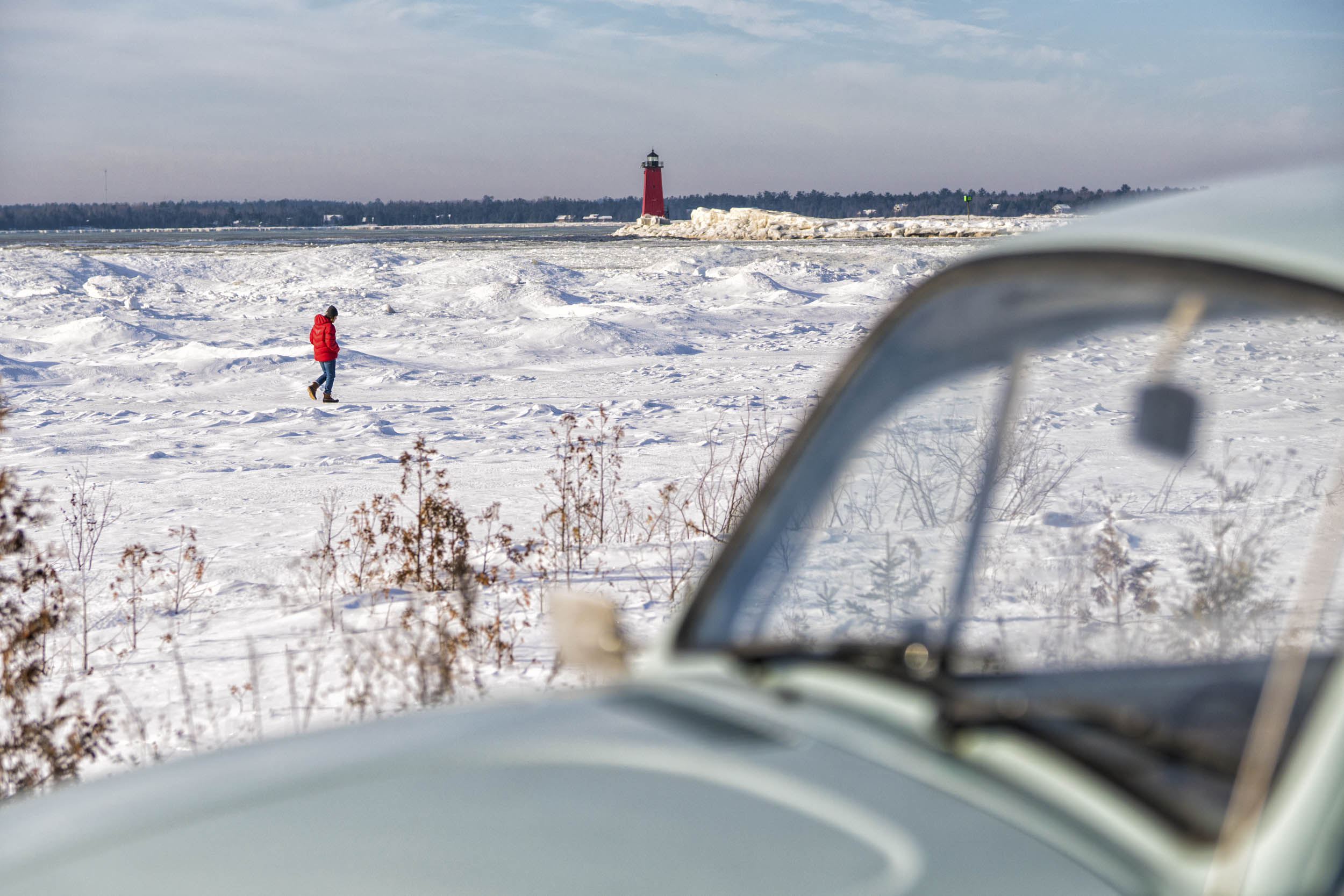 Grant explores the frozen shores of Lake Michigan on the last morning. We wouldn't have mentally survived the trip if we hadn't taken the time to adventure a bit and enjoy the sights.