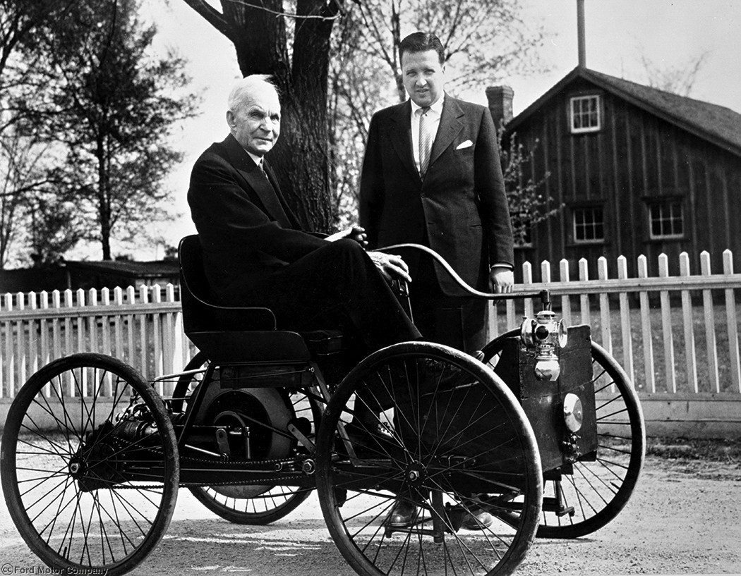 Henry Ford and Henry Ford II with Quadricycle circa 1946