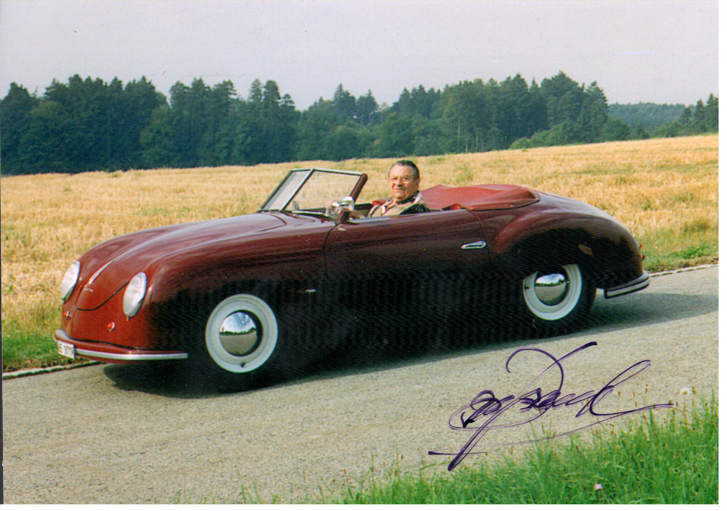 Photo of the Porsche 356/02 003 Beutler convertible signed by Ernst Beutler