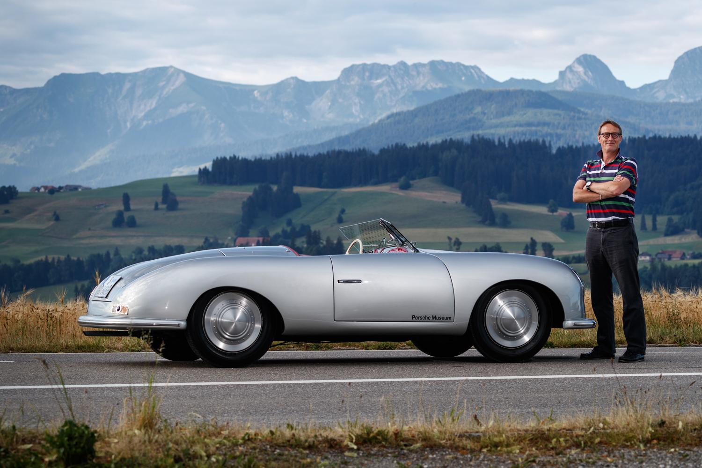 Porsche 356 001 side view mountains