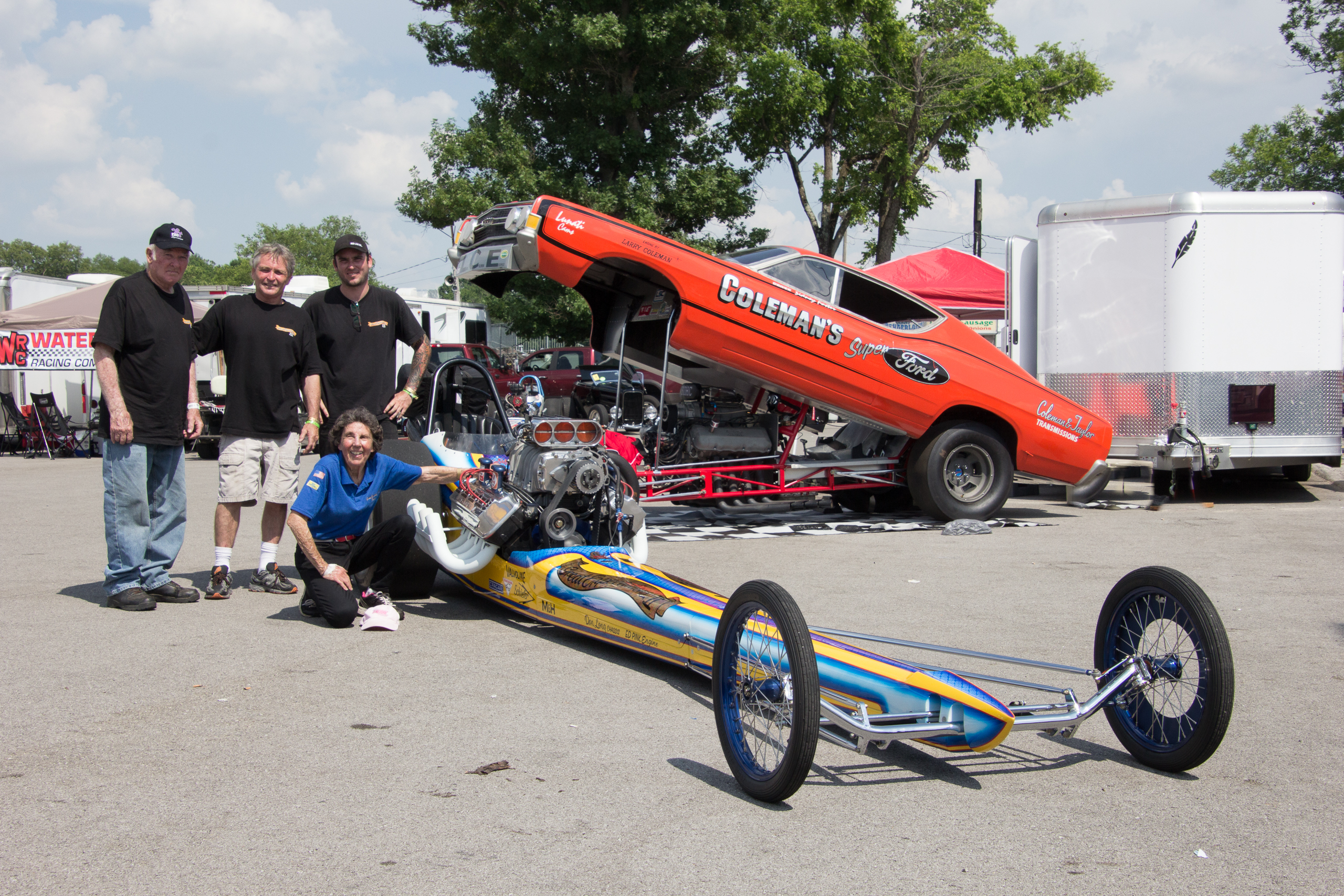 John, Robert and Tyler Hilton, Alison Lee. Three generations of drag racers and the  the restored Great Expectations II AA/Fuel Cacklefest dragster.
