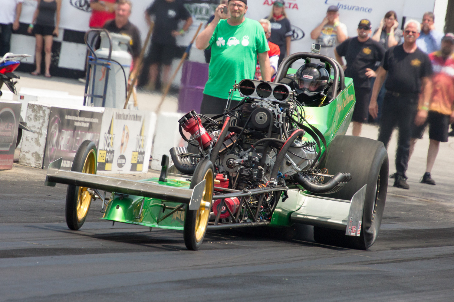 Chicago's own Turbo Tim Cullinan lights the fuse on his Irish Bomb dragster.
