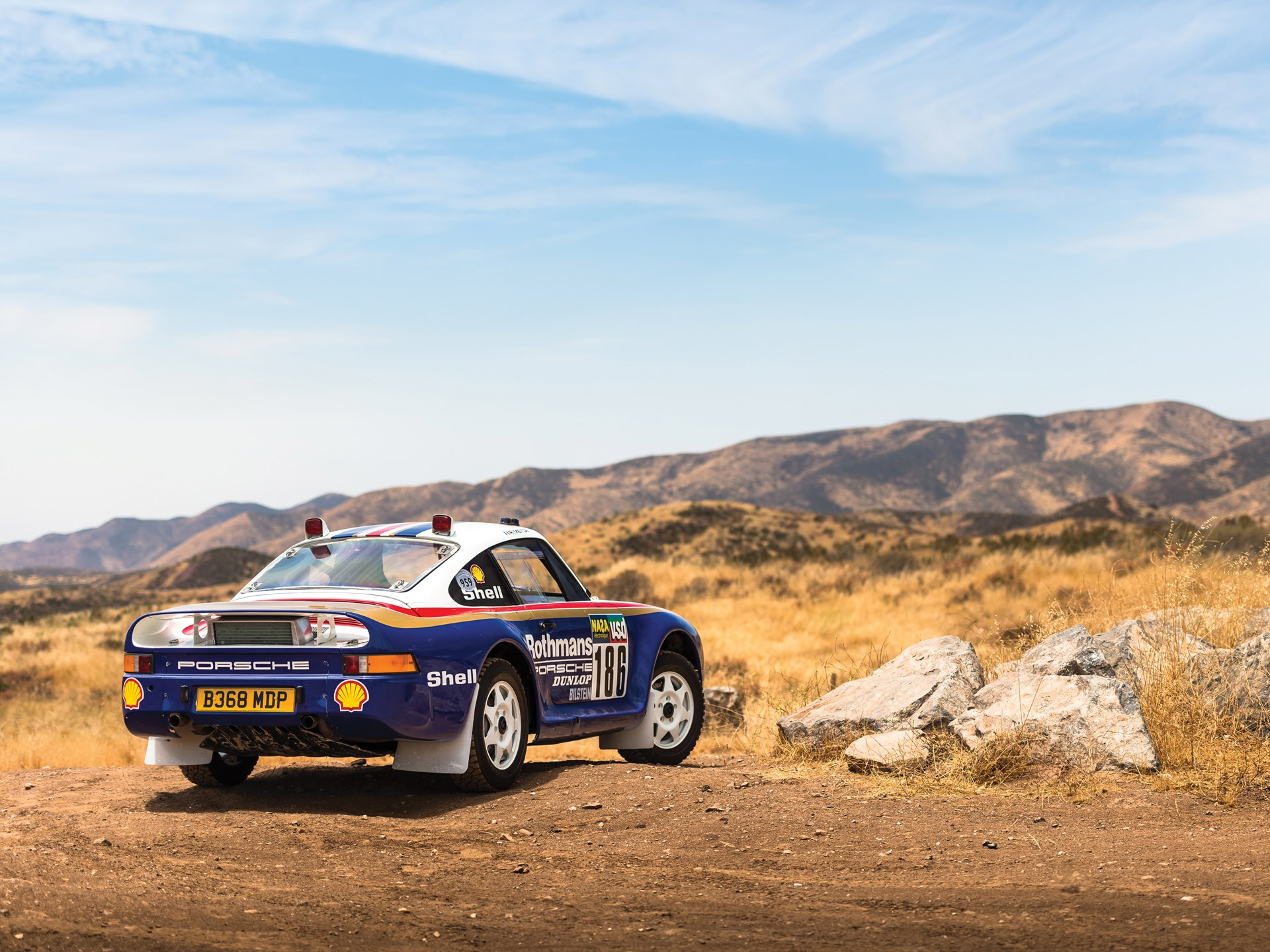 1985 Porsche 959 Paris-Dakar rear 3/4 mountain