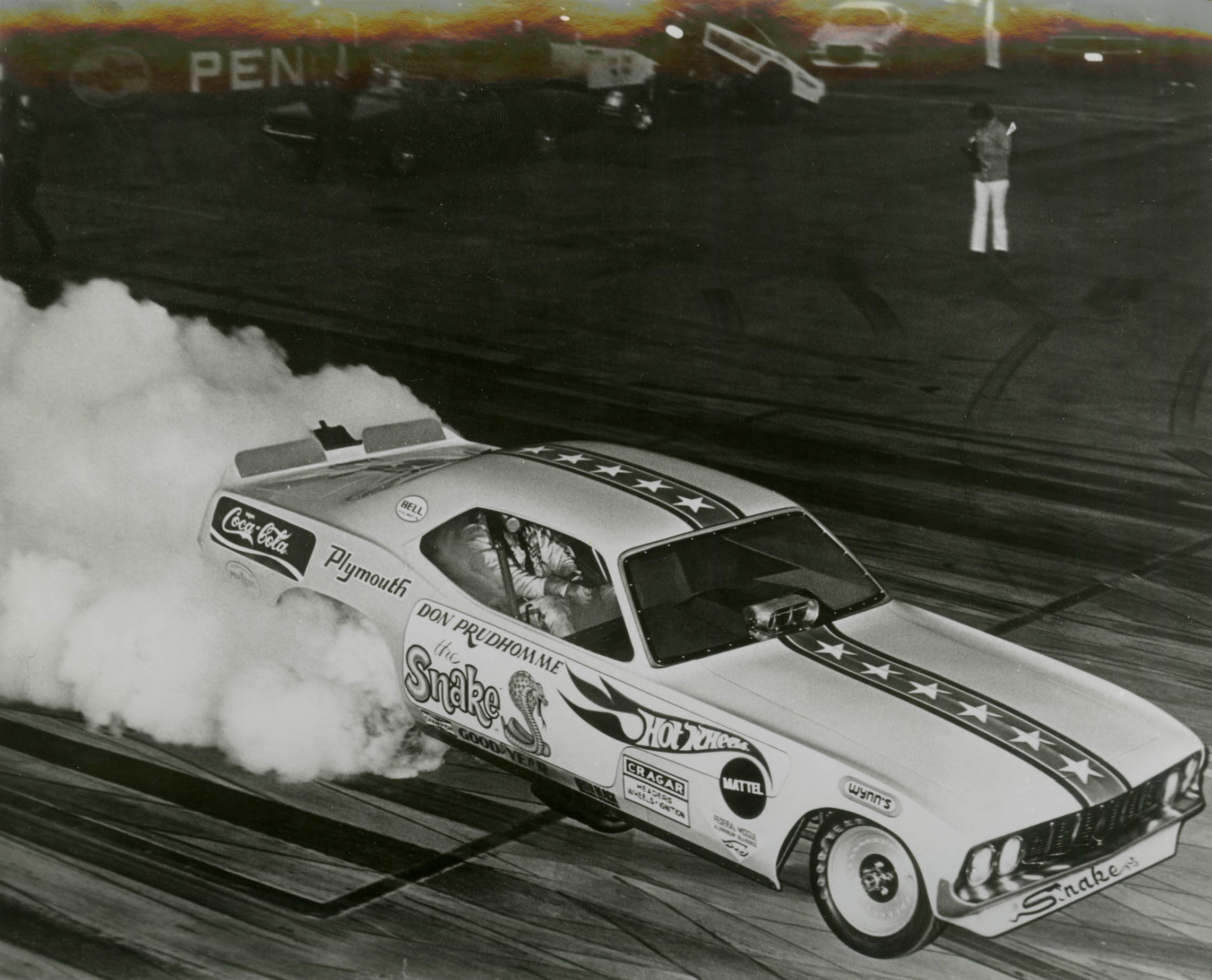 When Prudhomme raced the Hot Wheels–sponsored Plymouth in 1970 (left), he wasn't into street-legal muscle cars. He said he'd had enough loud engines in his day job.