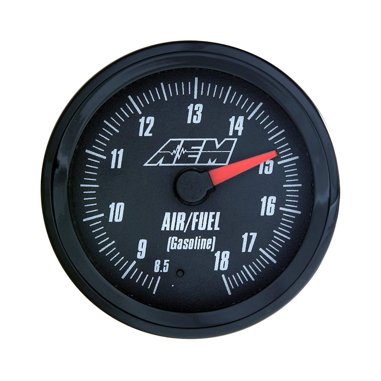 The AEM analog air/fuel gauge, in blackface, has a nice vintage look to it.