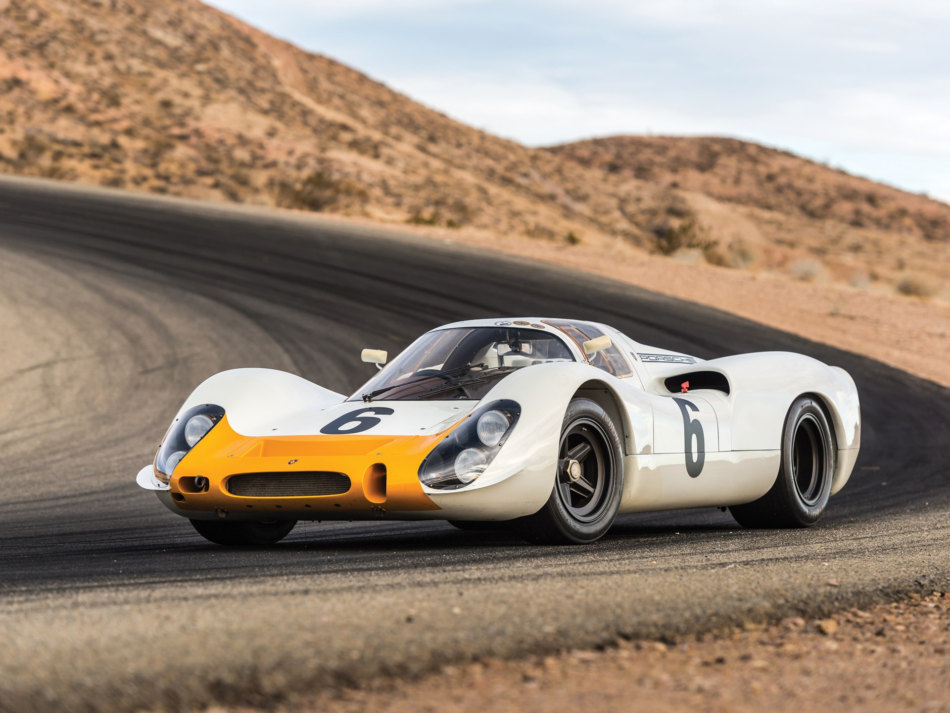 1968 Porsche 908 Short-Tail Coupe race track front 3/4