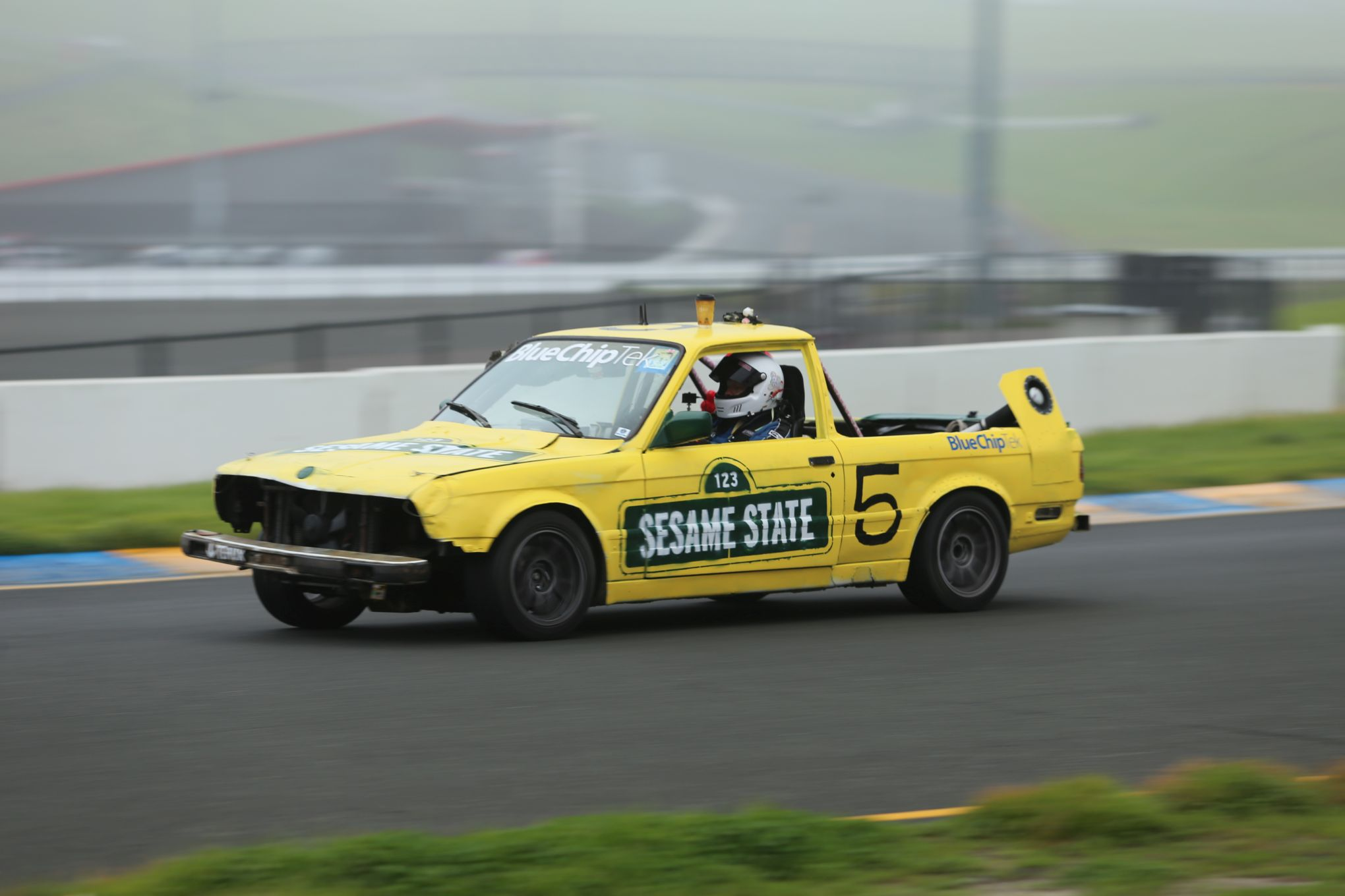 sesame street themed car at 24 Hours of Lemons