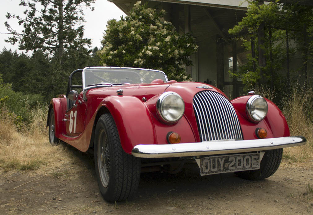 red Morgan Plus 8 front 3/4