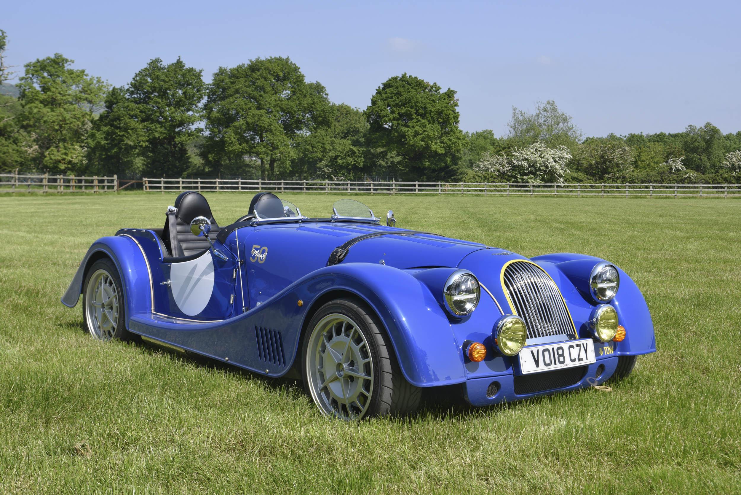 blue Morgan Plus 8 front 3/4
