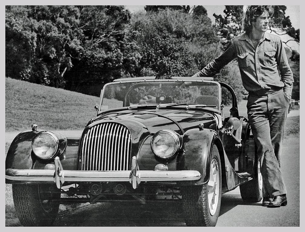 black and white photo of Morgan Plus 8