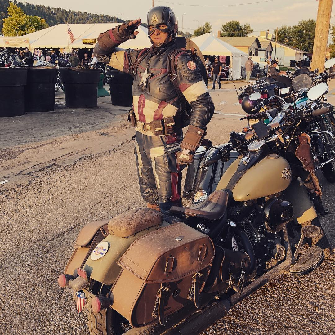 Captain America cosplay with motorcycle