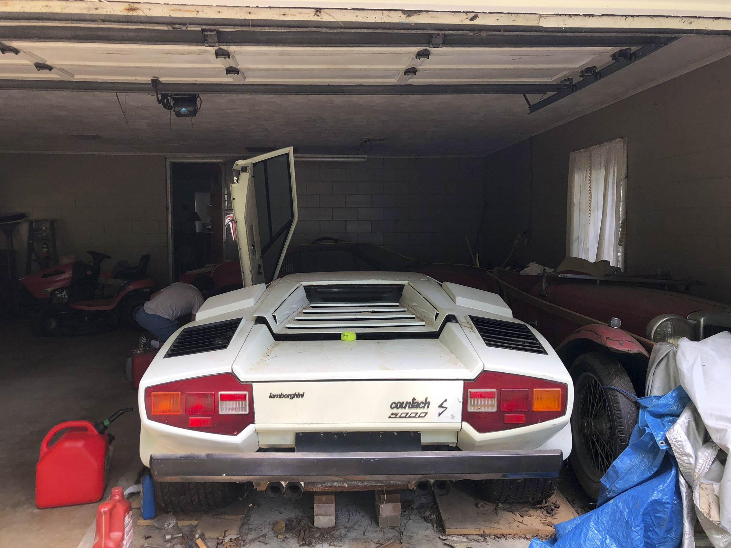 garage find Lamborghini Countach rear