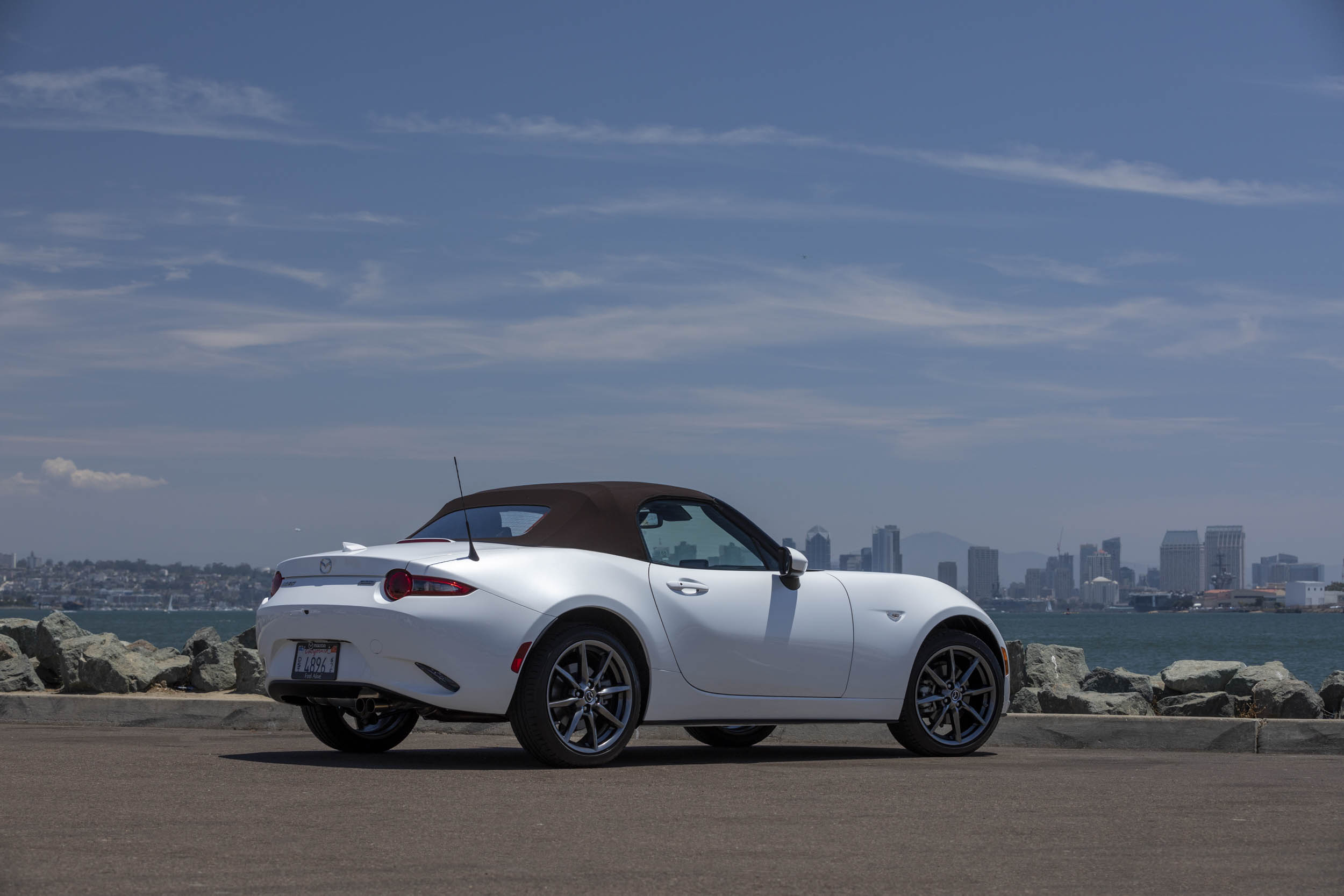 white 2019 Mazda MX-5 Miata Roadster rear 3/4