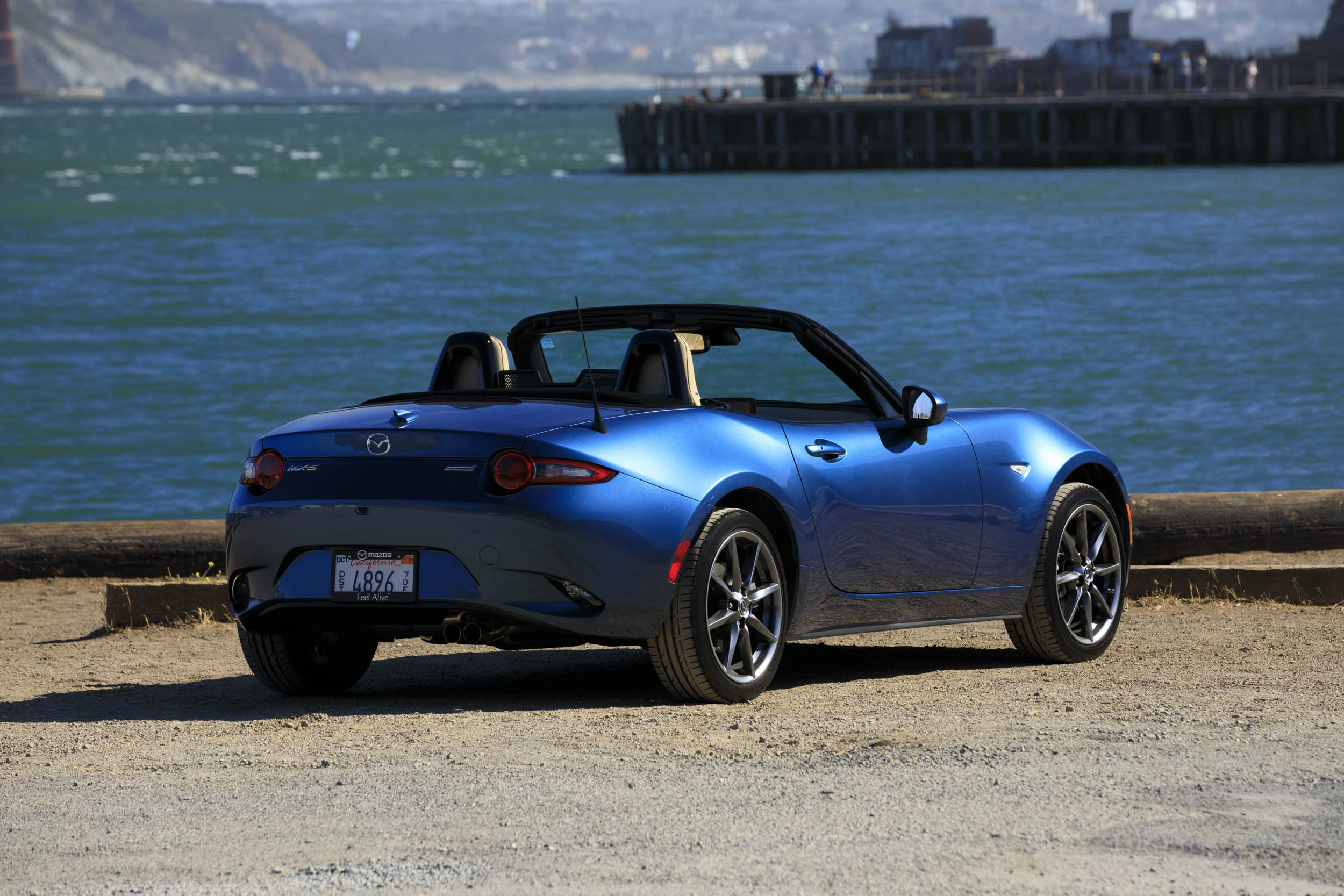 2019 Mazda MX-5 Miata Roadster rear 3/4 on the coast