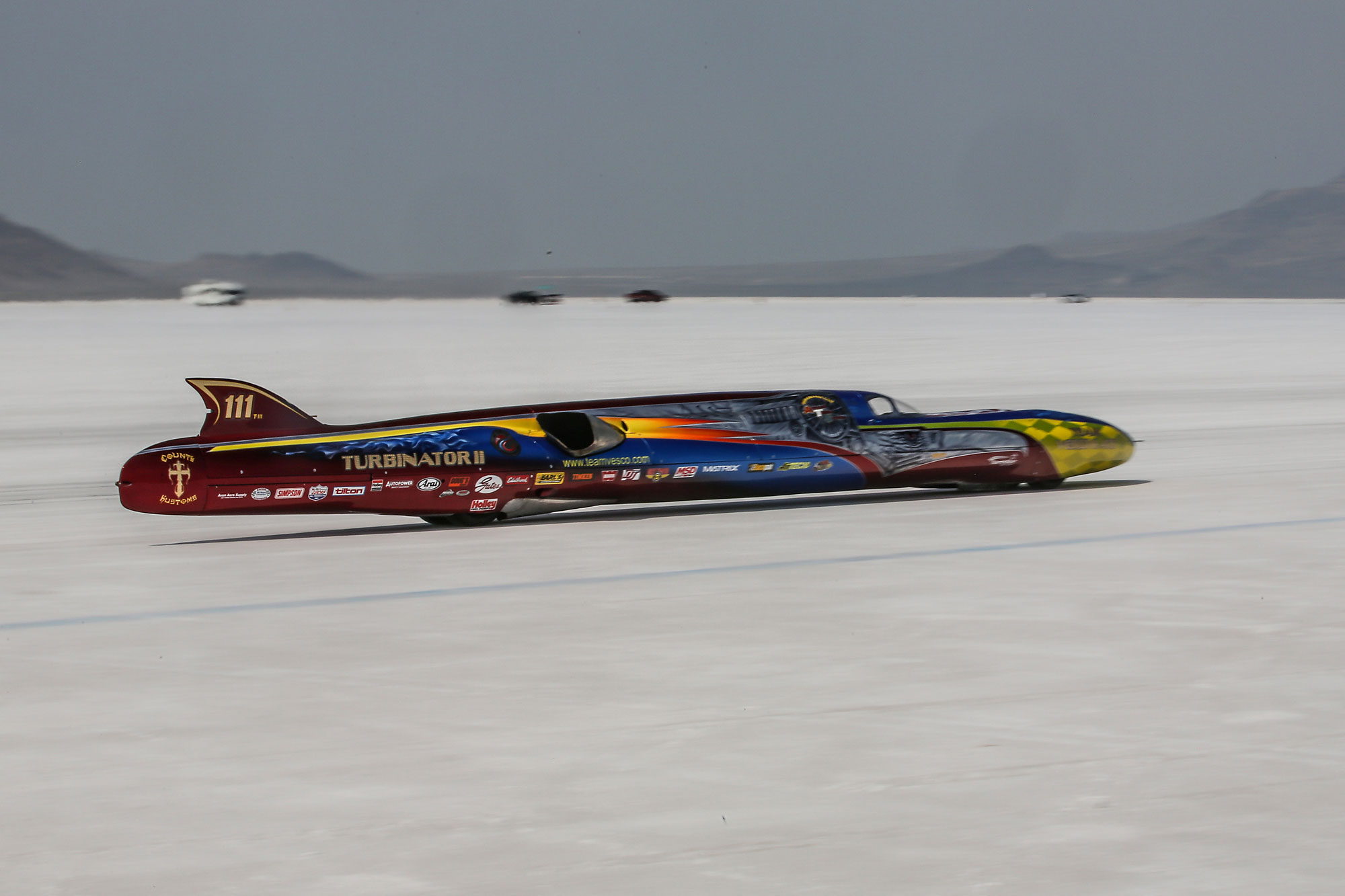 The Turbinator II streamliner pulls away from the starting line without the aid of a push truck.