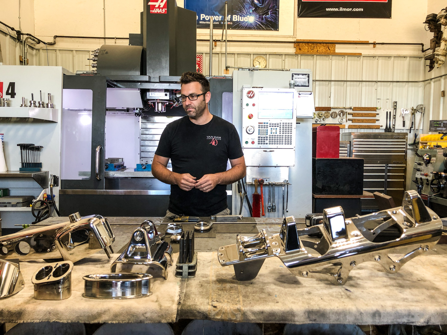 VanDam has an entire room dedicated to creating custom stainless trim pieces for their vessels
