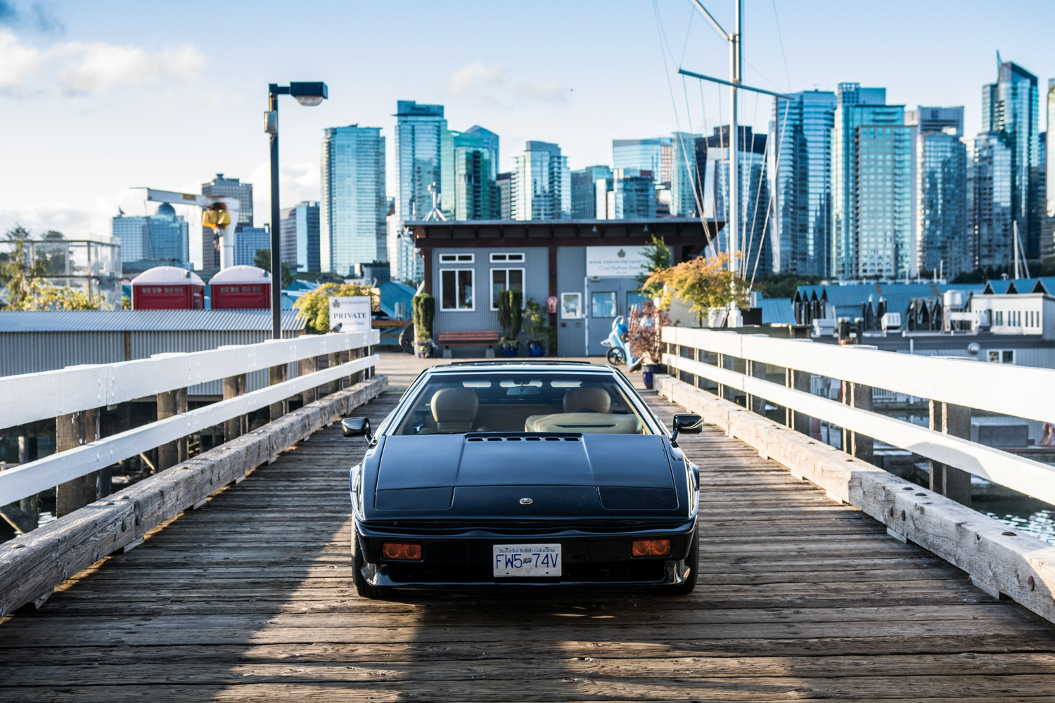 lotus esprit turbo front on wood dock