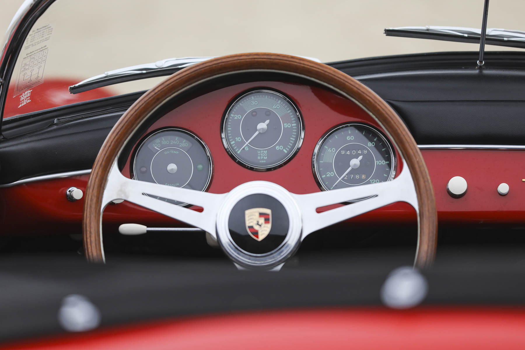 1957 Porsche 356 A Speedster steering wheel and gauge detail