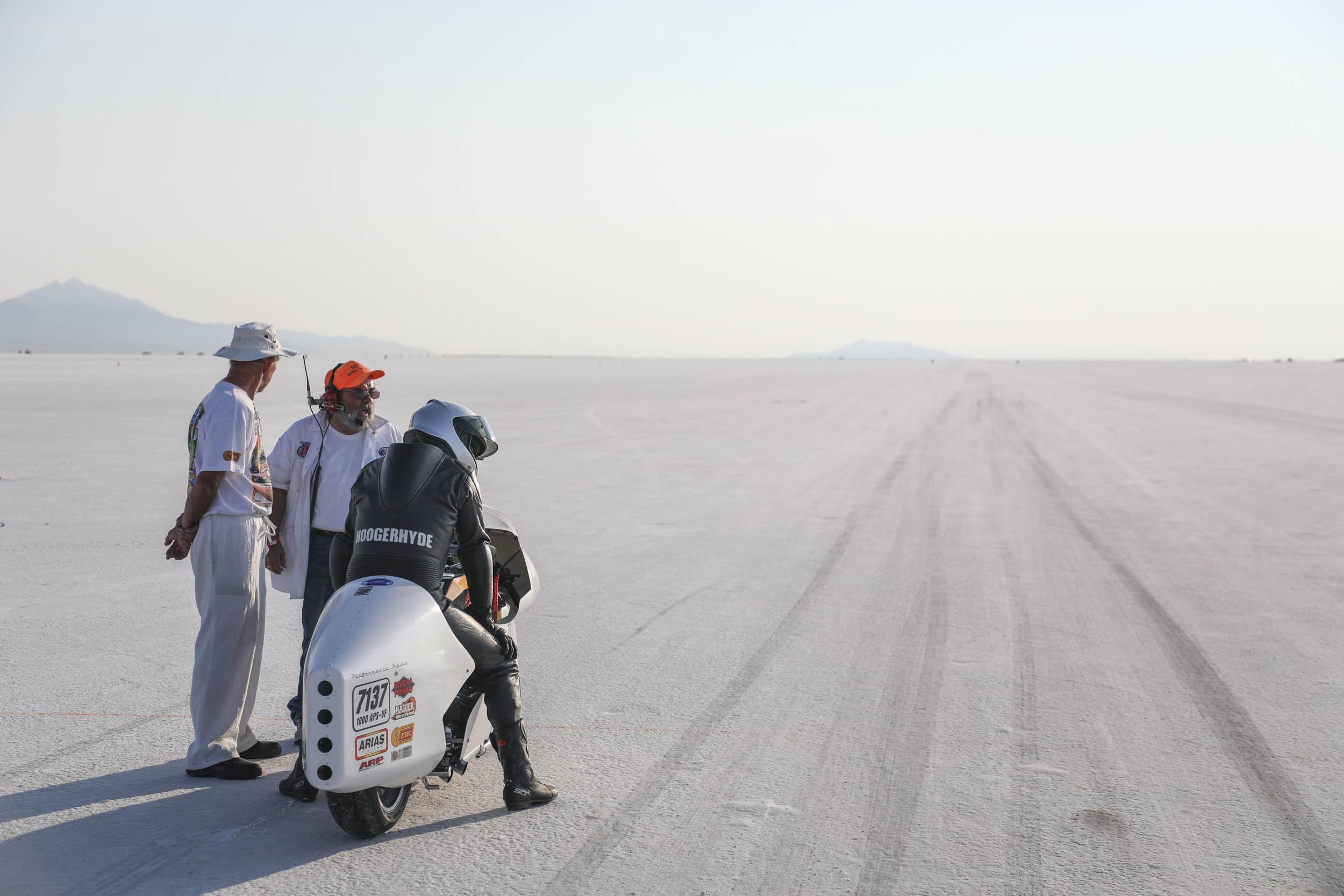 Motorcycle at Bonneville Salt Flats Speed Week