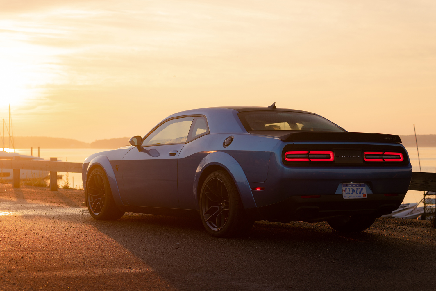 2019 Challenger SRT Hellcat Redeye Widebody rear 3/4 sunset