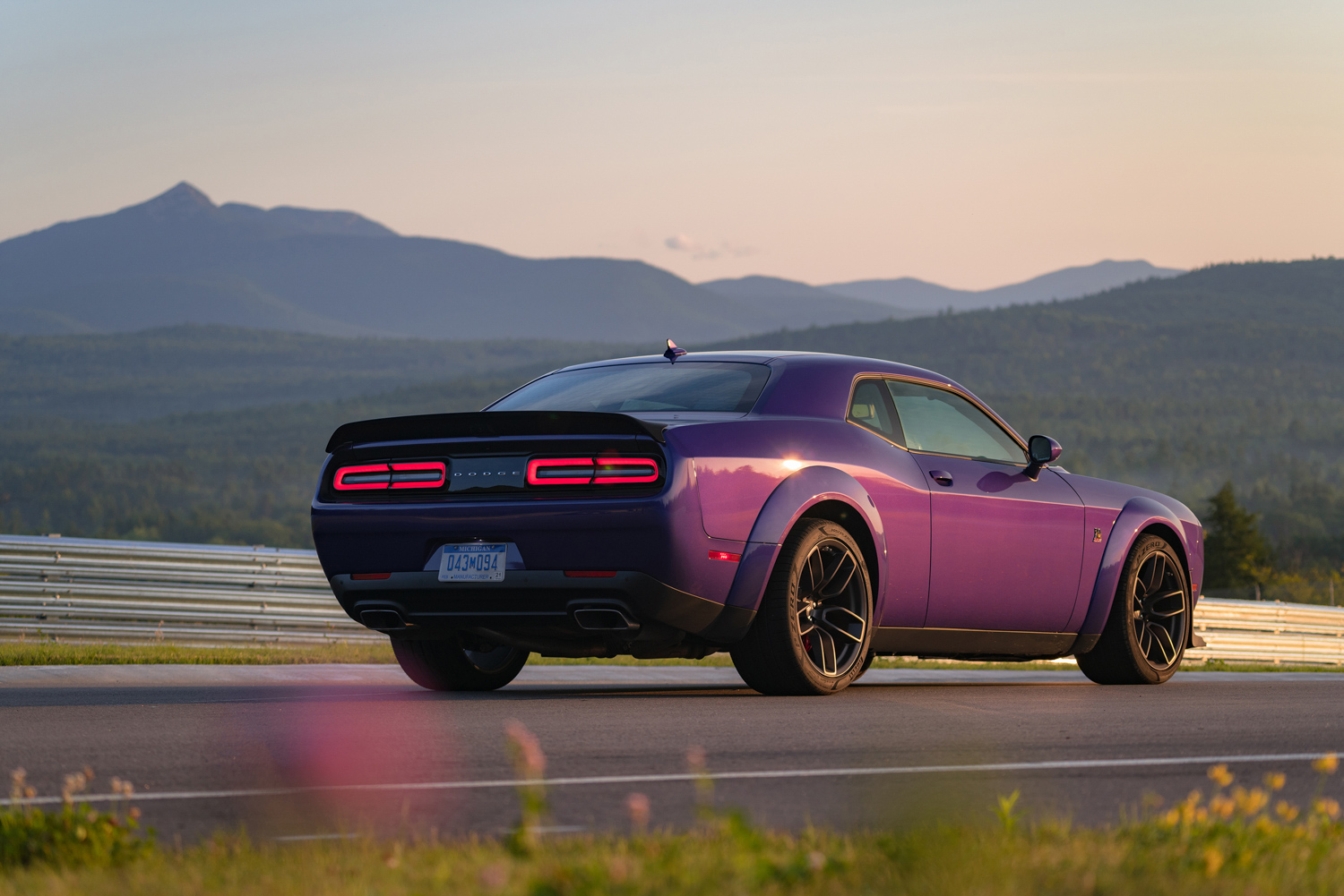 2019 Challenger R/T Scat Pack Widebody rear 3/4 sunset