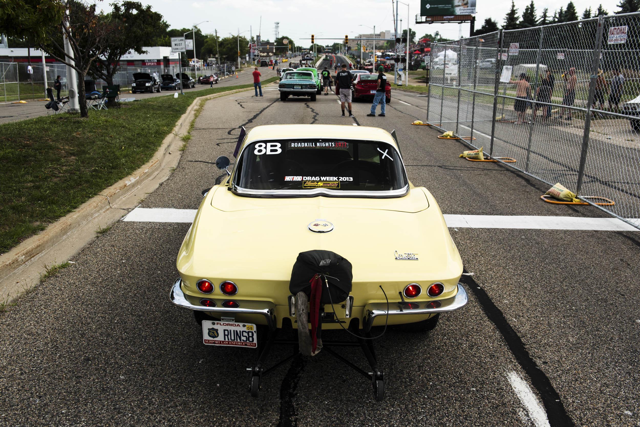 Corvette drag car at Roadkill nights