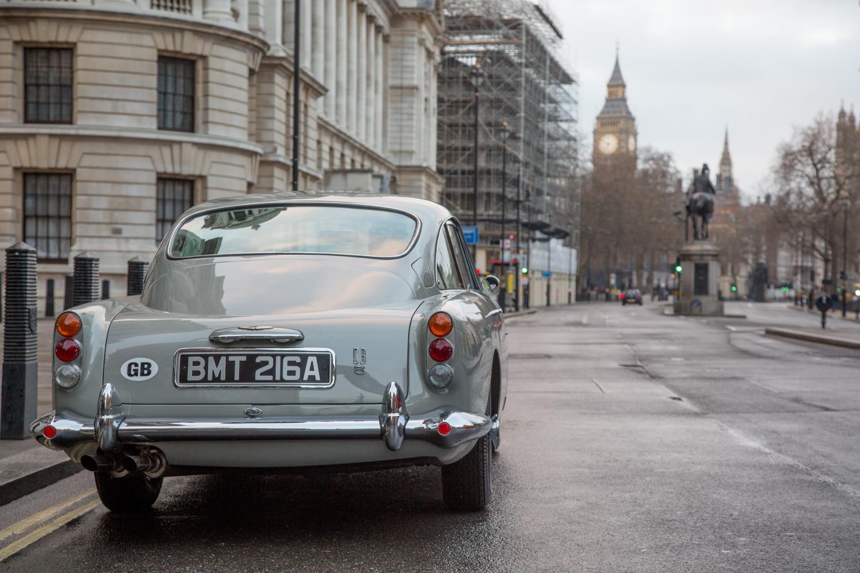 """Goldfinger"" Aston Martin DB5 city street"