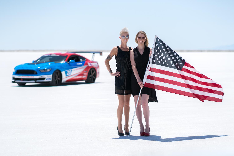 twin turbo mustang salt flats american flag