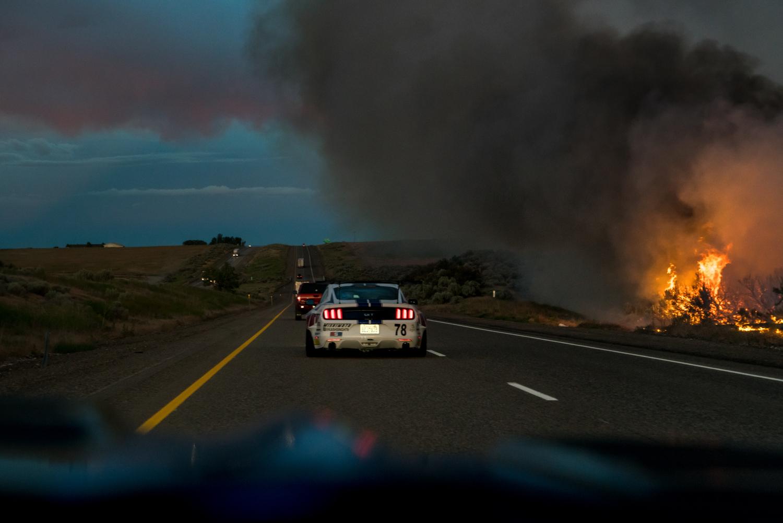 twin turbo mustang 1000 hp fire side of road