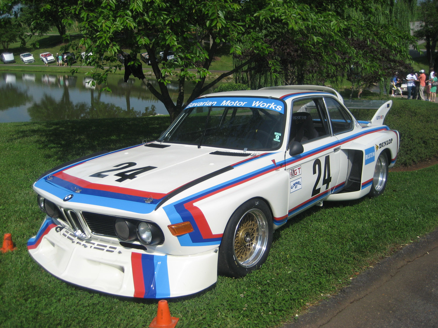 A Group 5 3.0CSL tribute car showing off its aerodynamic aids and scoops.