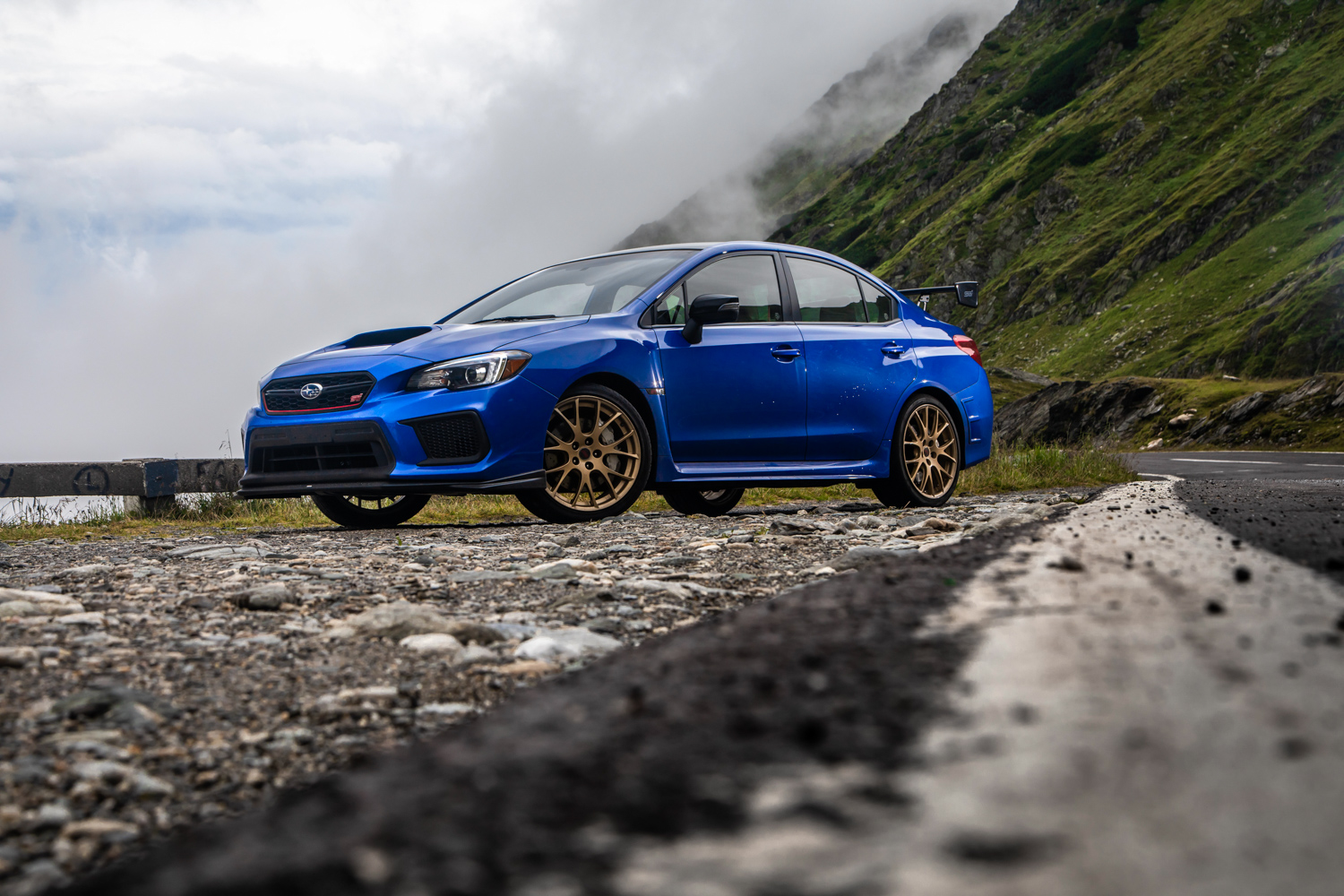 Subaru WRX STI Type RA epic mountain road parked