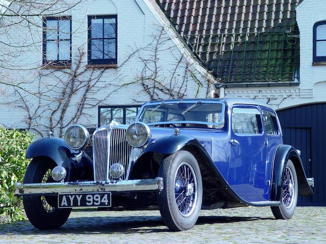 1934 Jaguar SS1 Coupe front blue