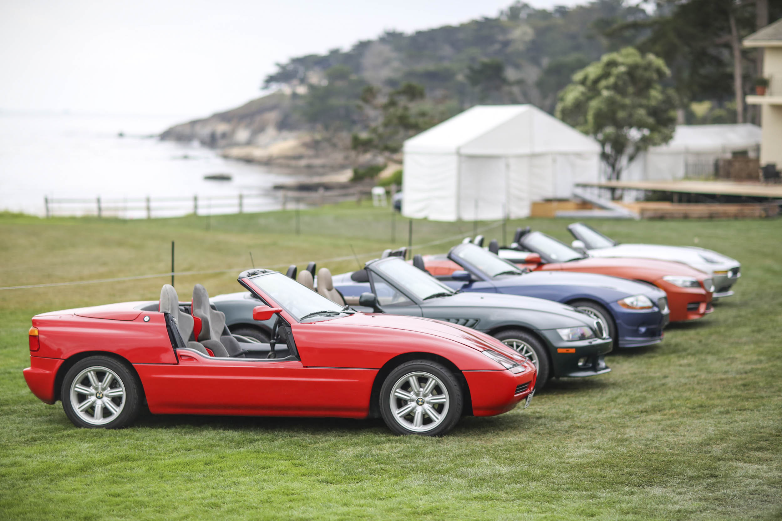 Line up of BMW Z cars on the Pebble Beach lawn