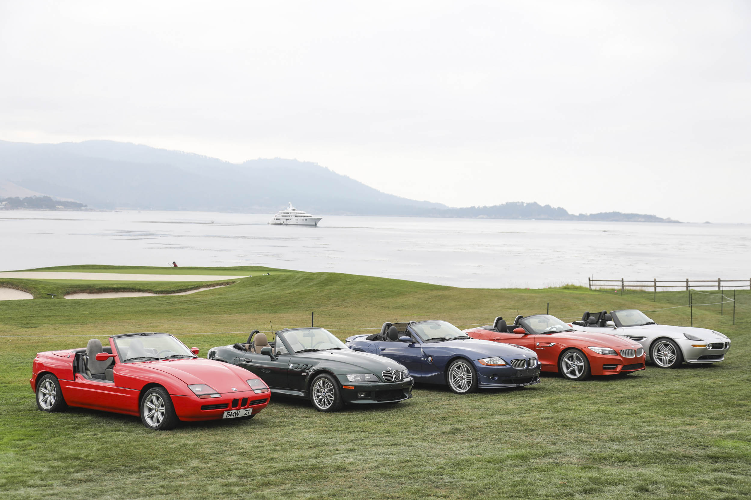 BMWs on the lawn of Pebble Beach