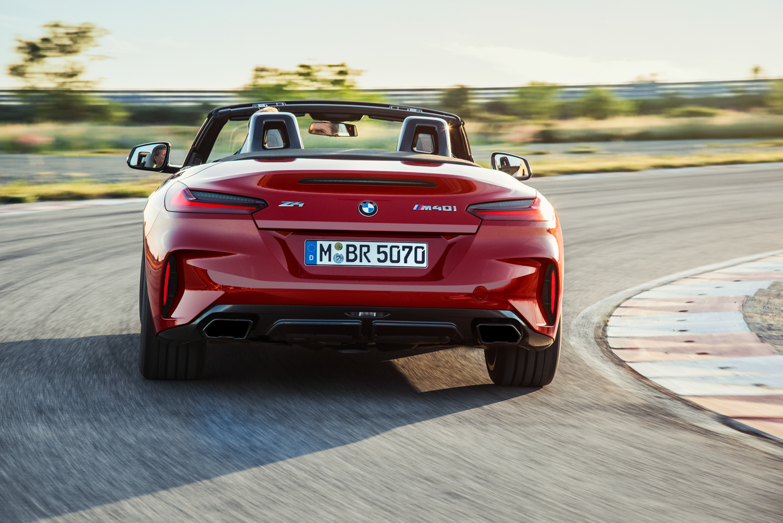 BMW Z4 M40i roadster on track rear view