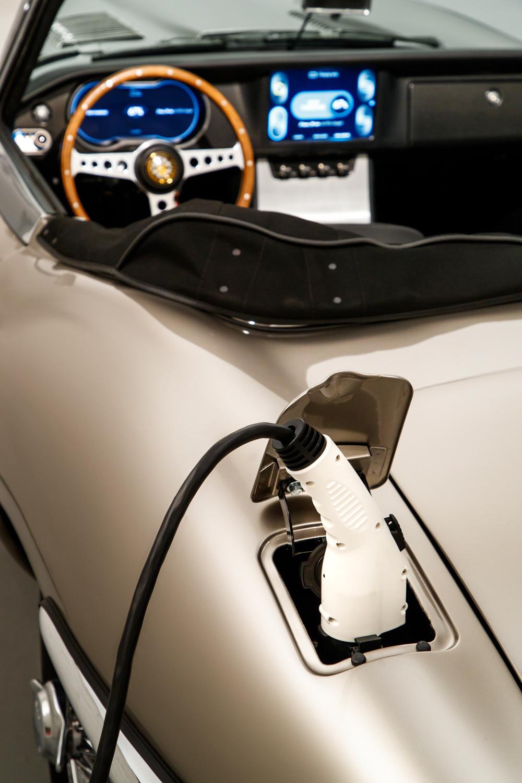 Jaguar E-type Zero EV charging port