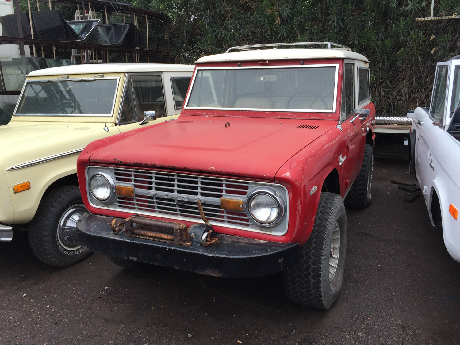 1969 Bronco Hunter Holman and Moody original body rusty parking lot