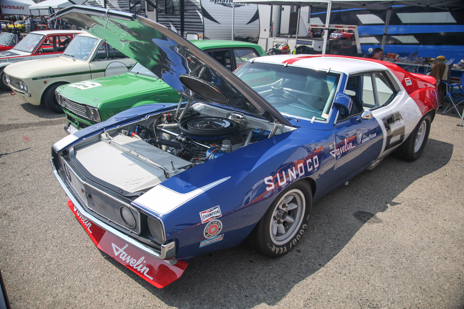 Rolex reunion amc javelin race car red white blue