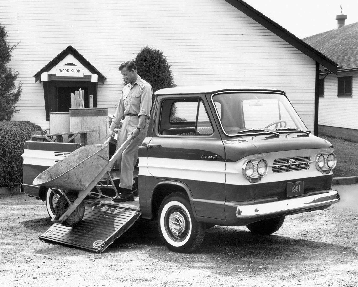 Chevrolet Corvair rampside wheelbarrow