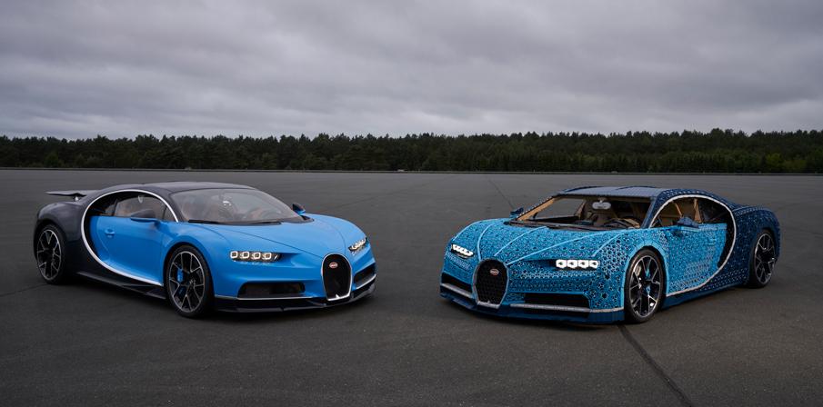 Lego Bugatti Chiron and real car