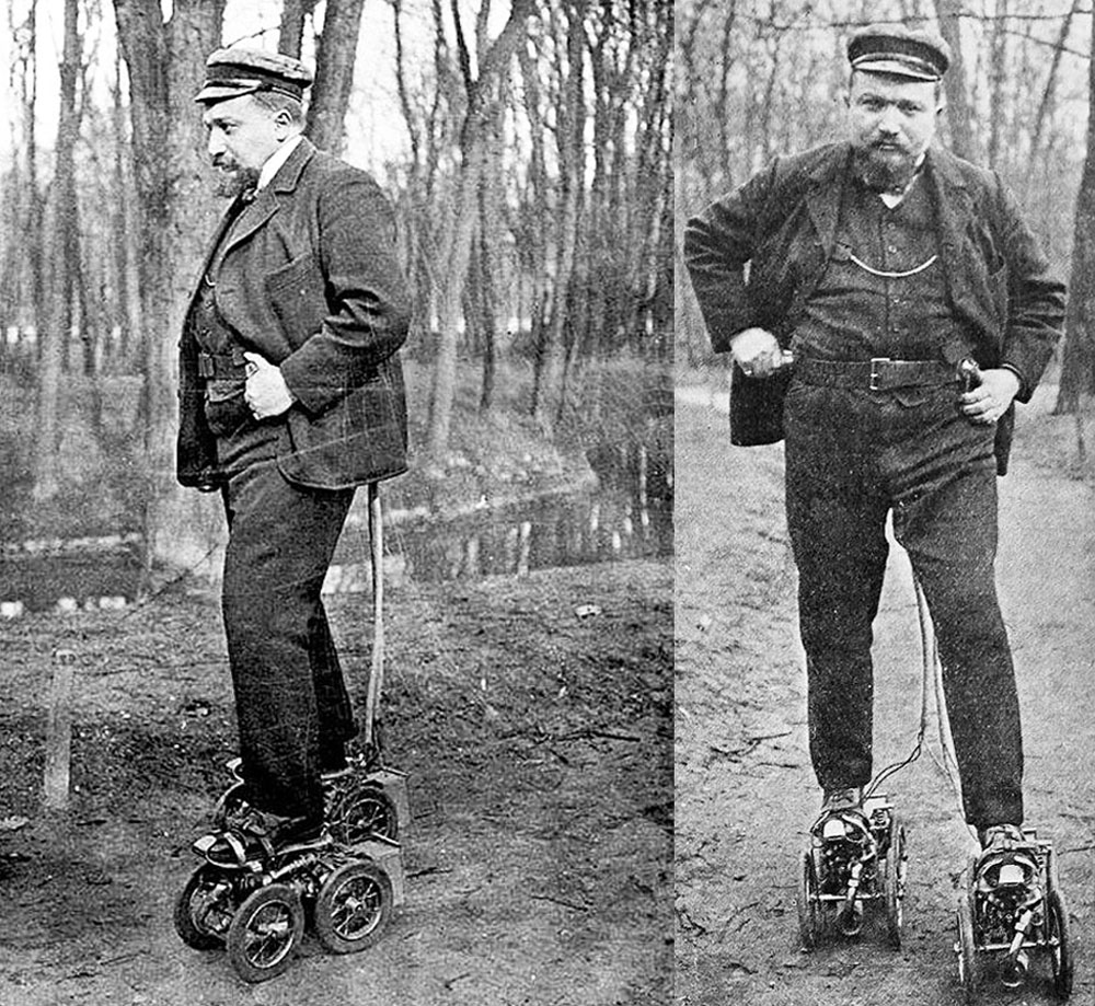 "Frenchman M. Constantini demonstrates his ""motor skates"" in 1906"