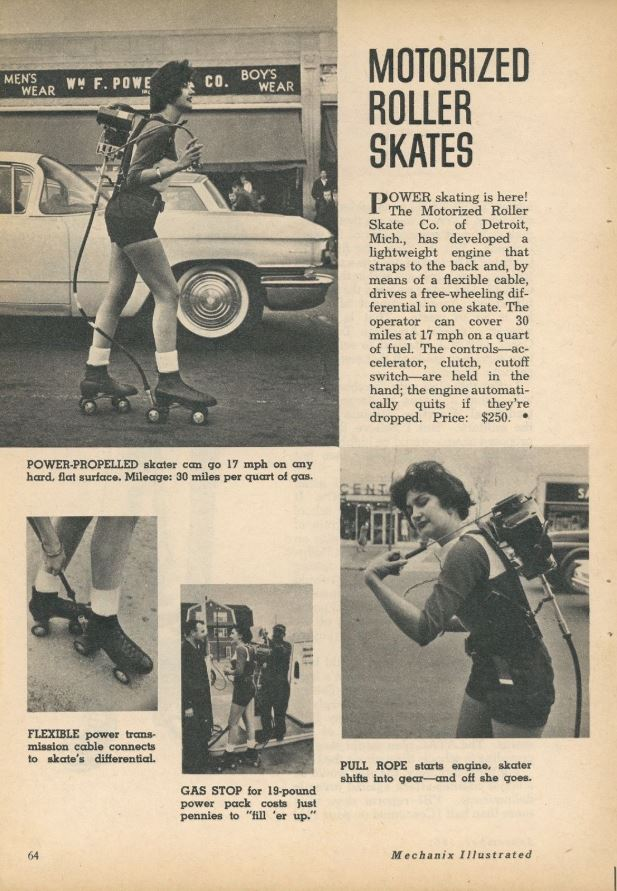 A story about the Motorized Roller Skate Company's new self-propelled skates in a 1956 issue of Mechanix Illustrated.