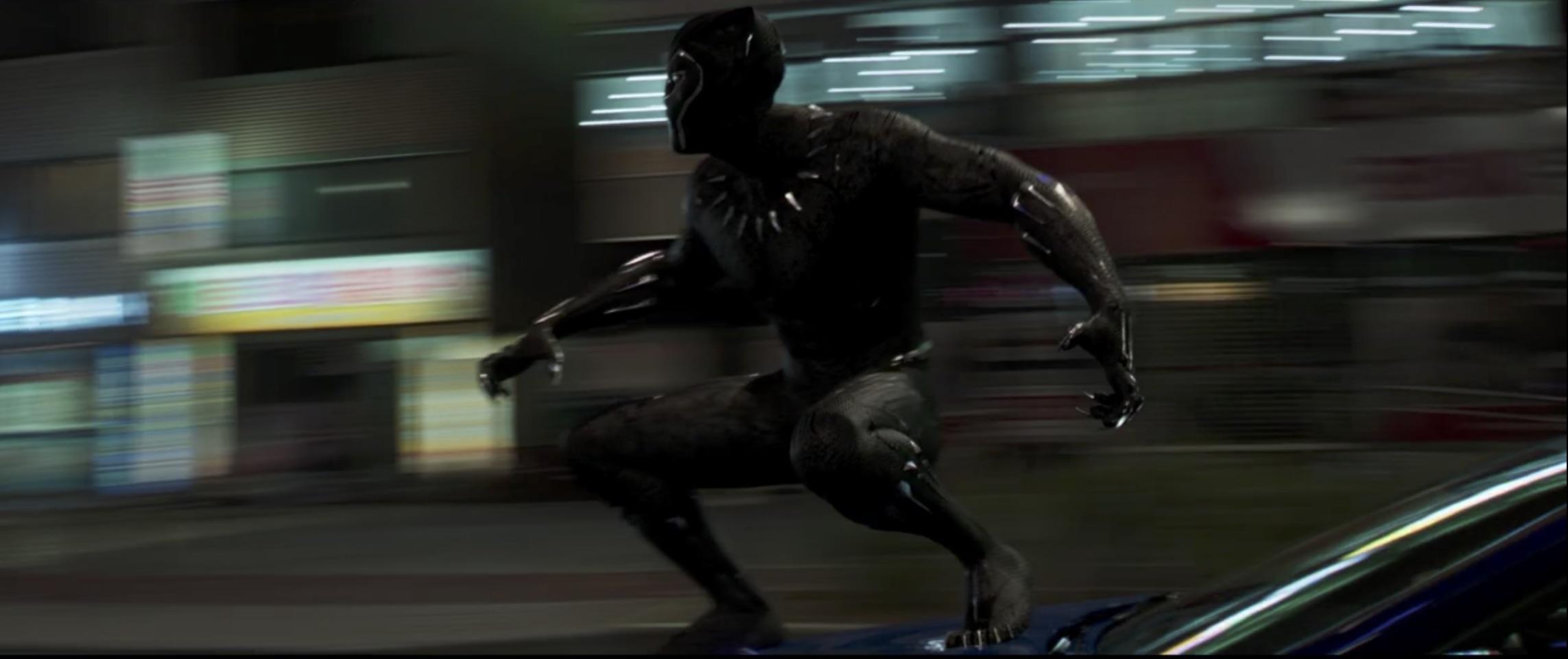 Marvel Black Panther car surfing