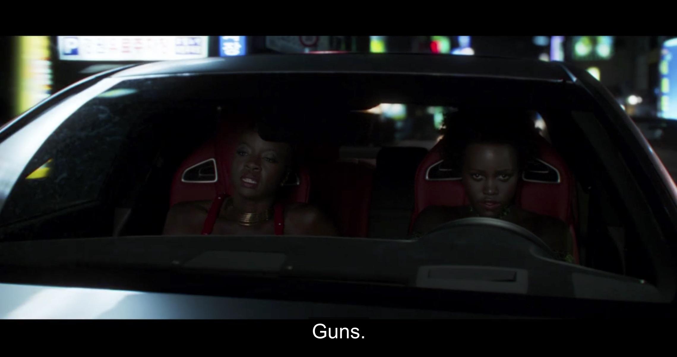 Marvel Black Panther ladies in car chase